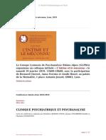 Colloque L'intime Et L'inconnu Lyon 2019