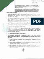 Voici la réponse de Larsen & Toubro à la suite d'une plainte déposée par des habitants de la rue Sir Virgil Naz. Le leader de l'opposition a déposé ce document à l'Assemblée nationale ce mardi.