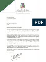 Carta de condolencias del presidente Danilo Medina a Luisa Espaillat viuda Cordero por fallecimiento de su esposo, Emilio Cordero Michel