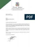 Carta de condolencias del presidente Danilo Medina a Carolina Tapia viuda Lanfranco por fallecimiento de su esposo, Roberto de Jesús Lanfranco Ureña