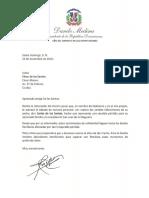 Carta de condolencias del presidente Danilo Medina a César de los Santos por fallecimiento de su padre, Carlos de los Santos