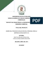 Diseño Del Proceso de Selección Del Personal Para La Empresa Alphalogistic s.A