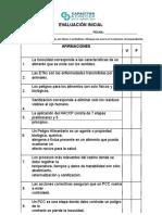 evaluacion inicial haccp