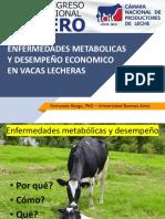 Enfermedades Metabolicas y Desempeño Economico en Vacas Lecheras. Fernando Bargo, Phd Universidad Buenos Aires