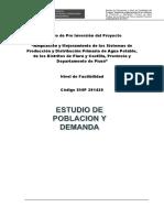 informe de Poblacion Demanda Piura 2015