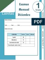 Diciembre - 1er Grado - Examen Mensual (2018-2019)