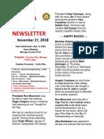 Nov. 27 Rotary Newsletter