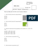 4 Grade Math Decimales