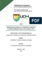 Marketing Relacional y la Atención al Cliente en el centro comercial Real Plaza Huánuco, 2018