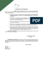 Affidavit of Ownership of Airconditioning Rashalyn