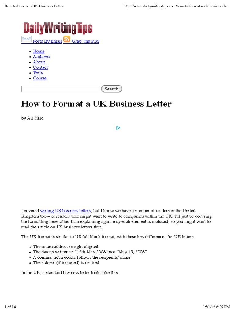How To Format A Uk Business Letter Sir Paragraph