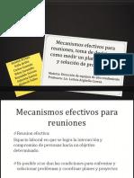 Mecanismos efectivos para reuniones, toma de decisiones, como medir un plan de trabajo y solución de problemas