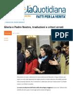 Gloria e Padre Nostro, Traduzioni e Criteri Errati