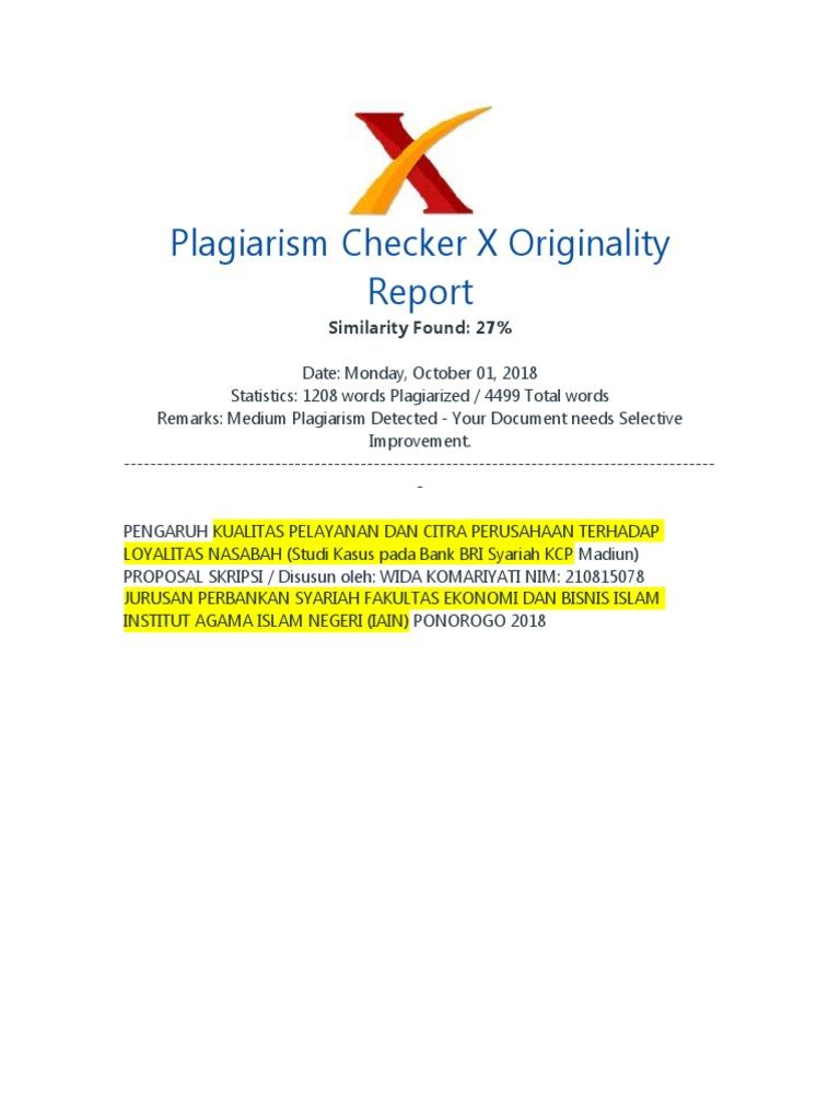 Plagiarism Checker X Originality Similarity Found 27