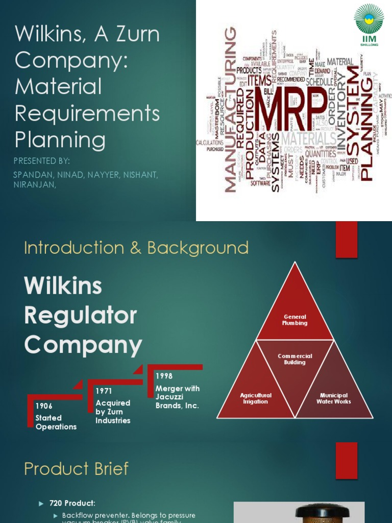 Final MRP Wilkins Case Study | Inventory | Business