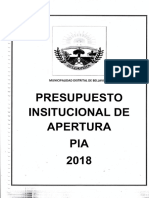 Documento Presupuesto Institucional de Apertura Pia 2018 Villa Vista