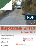 Butlletí informatiu de prevenció d'incendis forestals Espurna octubre 2018