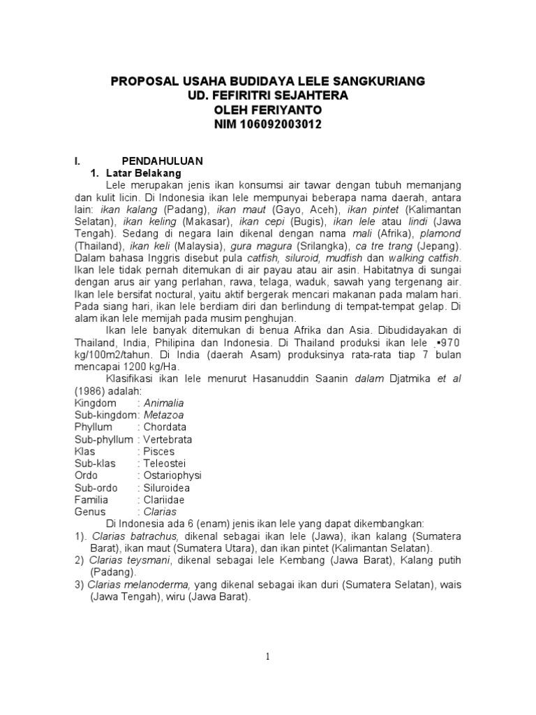 Proposal Usaha Lele Sangkuriang