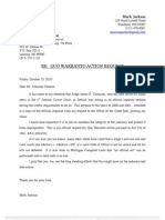 Quo Warranto Letter to Attorney General Regarding Judge Chylinski (10!15!2010)
