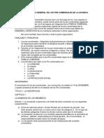 Reglamento General de Los Pre Comensales de La Acunica