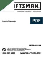 Craftsman 2200 Inverter Generator Owner&Aposs Manual