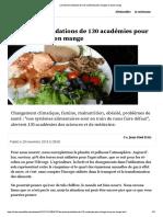 Les recommandations de 130 académies pour changer ce qu'on mange