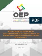 Reglamento Elecciones Primarias Candidaturas Binomios Presidenciales 2019