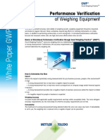 Performance Verification of Weighing Processes