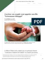 """Corrèze- un couple veut appeler son fils """"Griezmann Mbappé"""""""