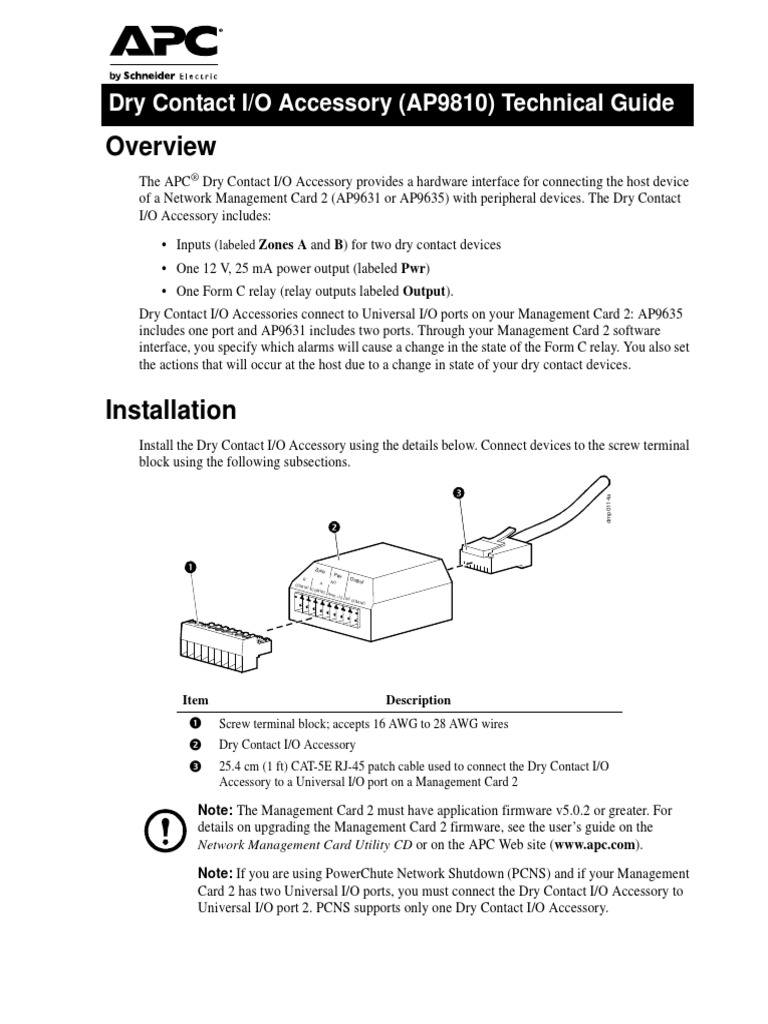 APC Dry Contact | Relay | Input/Output