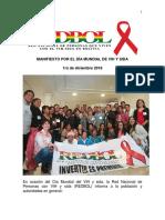 Manifiesto de la Red Nacional de Personas con VIH por el Día Mundial VIH 2018