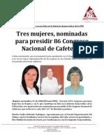 BOLETÍN-Tres Mujeres, Nominadas Para Presidir 86 Congreso Nacional de Cafeteros