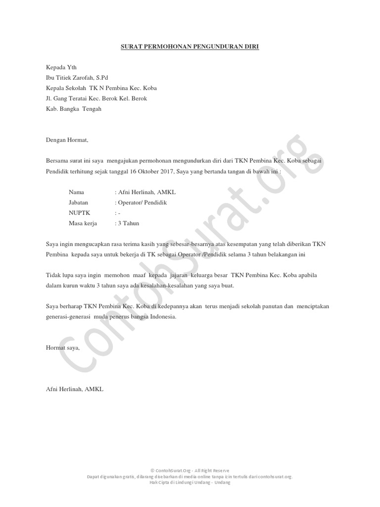Contohsuratorg Contoh Surat Pengunduran Diri Guru 02