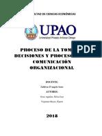 El Proceso de La Toma de Decisiones y El Proceso de La Comunicación Organizacional