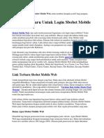 15 Link Terbaru Untuk Login Sbobet Mobile Web