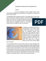 Distribución geográfica de temperaturas y precipitaciones