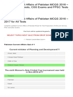 Updated Current Affairs of Pakistan MCQS 2016 – 2017 for NTS Tests, CSS Exams and FPSC Tests _ Prospects E-Learning