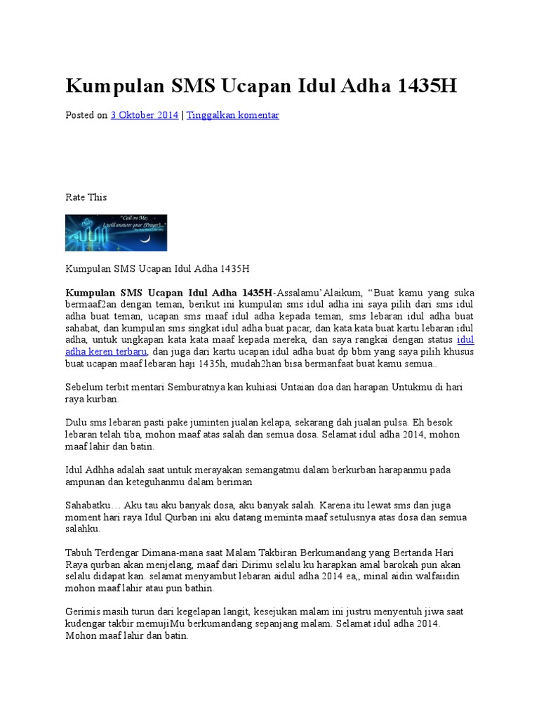 Kumpulan SMS Ucapan Idul Adhacx