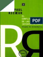 Paul Ricoeur. El Conflicto de Las Interpretaciones