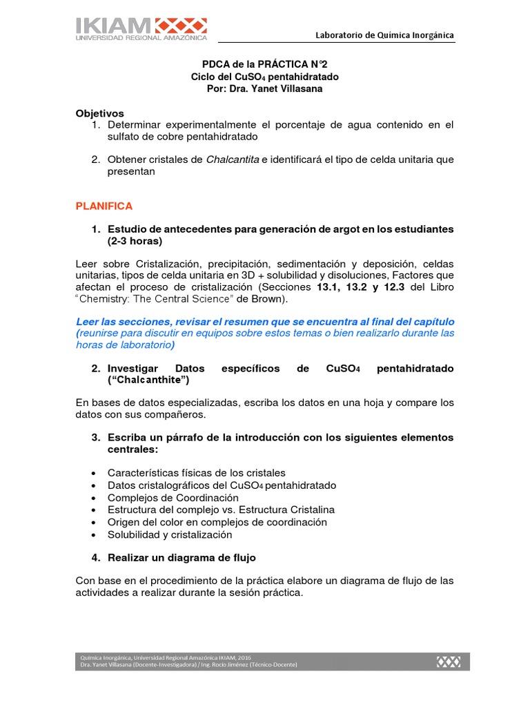 Pera Práctica 2 Ciclo Del Sulfato De Cobre Pentahidratado