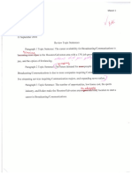 preliminary topic sentences initialed by instructor for blended peer review