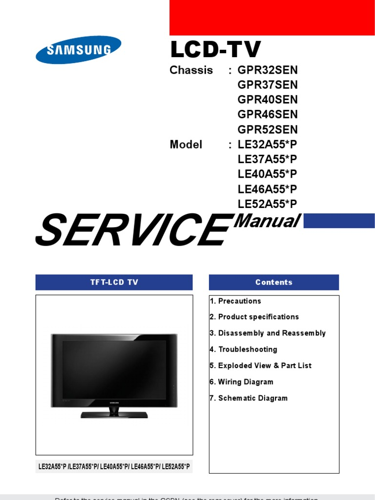 samsung le32a558p3f tv service manual download