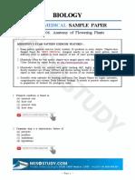 2019 NEET Sample Paper Biology 06. Anatomy of Flowering Plants