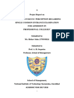 STUDY OF STUDENTS' PERCEPTION REGARDING SINGLE COMMON ENTRANCE EXAMINATION FOR ADMISSION IN PROFESSIONAL COLLEGES