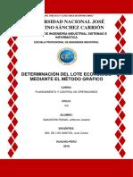 Determinación Del Lote Economico Mediante El Metodo Grafico