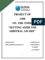 311184340 Setting Aside Arbitral Award Contemporary Scenario in India Copy