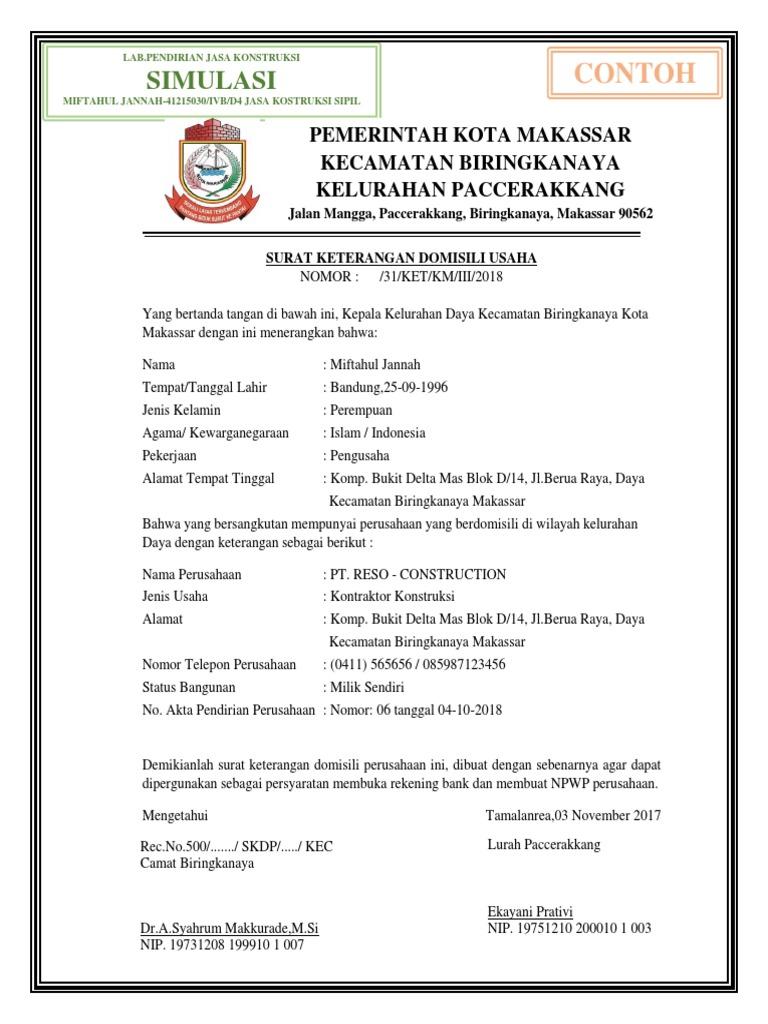 Contoh Surat Keterangan Domisili Usaha Dari Kelurahan Doc ...