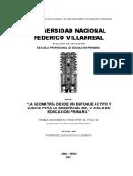 """""""La Geometría Desde Un Enfoque Activo y Ludico Para La Enseñanza Del v Ciclo de Educación Primaria"""""""