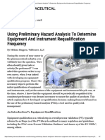 Using Preliminary Hazard Analysis to Determine Equipment and Instrument Requalification Frequency