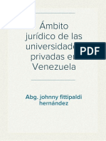 Ámbito Juridico de Las Universidades Privadas en Venezuela